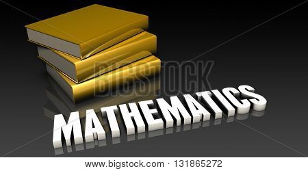 Mathematics Subject with a Pile of Education Books 3d Render
