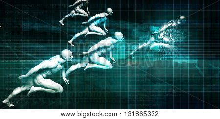 Science and Technology with Men Running as Futuristic Concept 3d Illustration Render