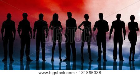 Silhouette of Business People Working on Background 3d Illustration Render