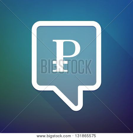 Long Shadow Tooltip Icon On A Gradient Background  With A Ruble Sign