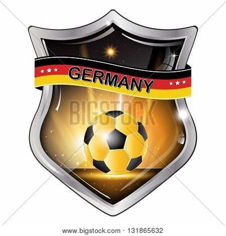 Germany flag elegant shiny icon / button / label with soccer ball.