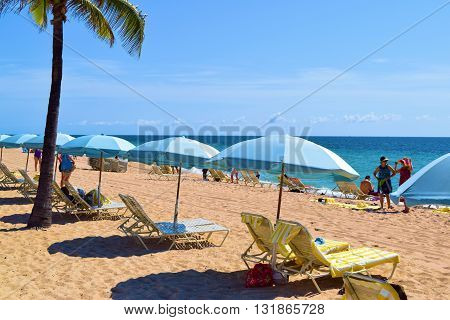 May 20, 2016 in Ft Lauderdale, FL:  Lounge Chairs and umbrellas on the sandy beach with Palm Trees where locals and tourists can relax and sunbathe next to the Atlantic Ocean taken in Ft Lauderdale, FL