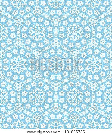 seamless lace with floral pattern on a blue background