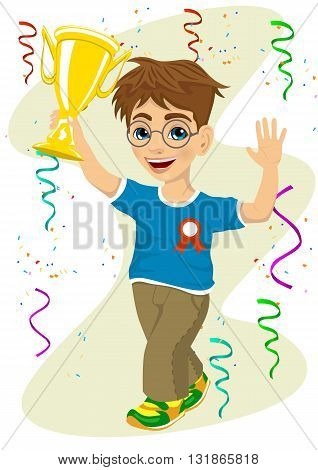 smiling boy with glasses celebrating his victory waving his trophy walking under falling confetti