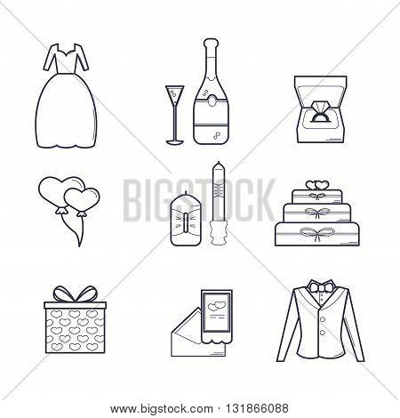 Set of Wedding Icons Isolated on White/ Set of Vector Wedding Love Elements