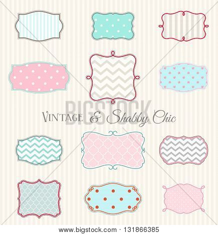 Collection of vintage and shabby chic frames, vector illustration, eps 10