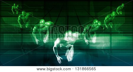 Business Team Running with Clear Direction and Vision 3d Illustration Render