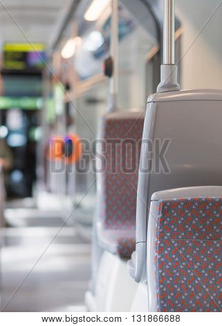 Modern urban bus interior. Empty bus concept