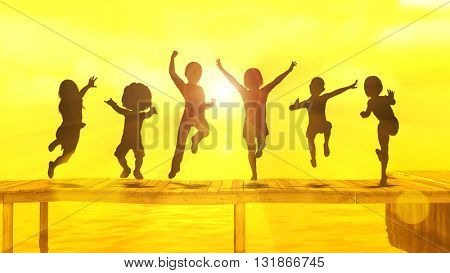 Children Having Fun in the Sun by the Beach 3d Illustration Render