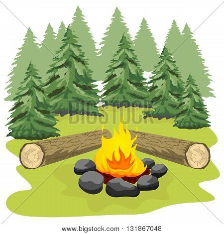 Campfire with stones and wooden logs in a forest clearing