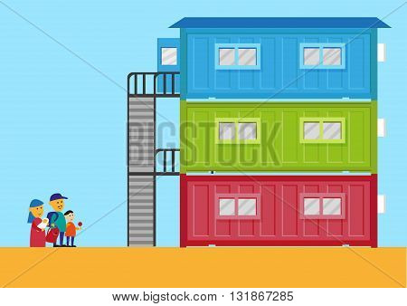 Livable Shipping Container Home for the homeless or immigrants. Editable Clip Art.