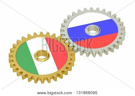Russia and Italy flags on a gears 3D rendering isolated on white background