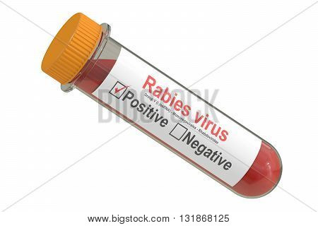Test tube with blood sample positive Rabies virus 3D rendering