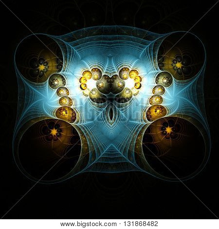 Abstract beautiful heart. Mysterious psychedelic relaxation wallpaper. Fractal abstract pattern. Digital artwork creative graphic design.