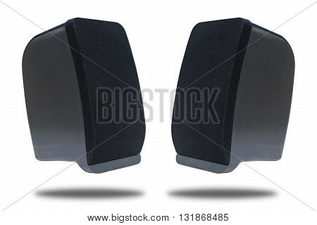 Black sound speaker isolated on white background Twin speaker black color speaker connect to blue tooth Clipping path