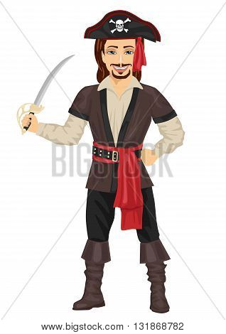Handsome man in pirate costume holding a sword
