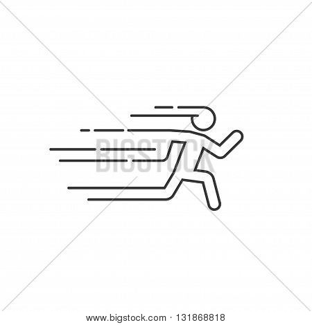 Running man vector illustration with motion blur track linesabstract running person silhouette symbol modern simple sprinter trail shape flat linear outline style icon design isolated on white sign