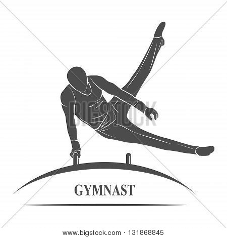 Icon male gymnast performs on horseback. Photo illustration.