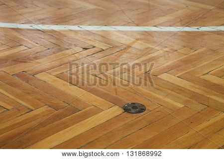 White Line In Hall . Worn Out Wooden Floor Of Sports Hall With Colorful Marking Lines