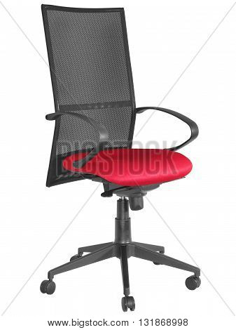 Swivel Office Chair, Black Back And Arm Rests, Red Seat 02