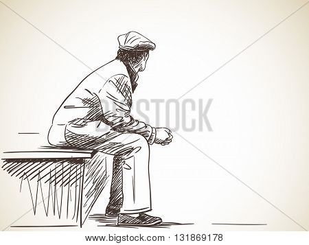 Sketch of old man sitting, Hand drawn illustration