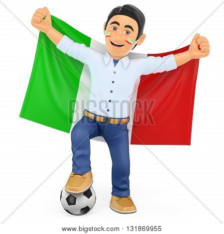 3d sport people illustration. Football fan with the flag of Italy. Isolated white background.
