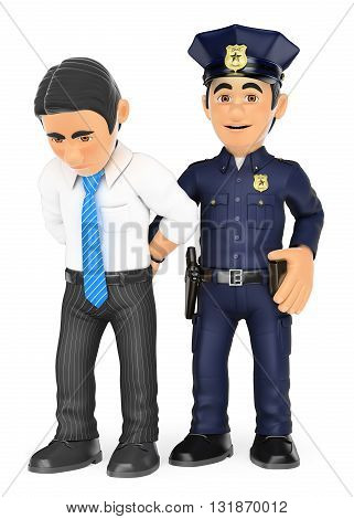 3d security forces people illustration. Policeman arresting a thief. White collar criminal. Isolated white background.
