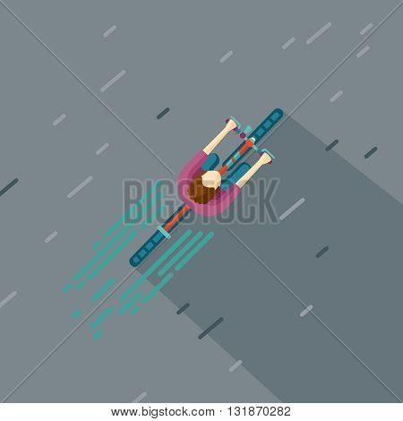 Cartoon illustration of a cyclist. Falt style. Top view