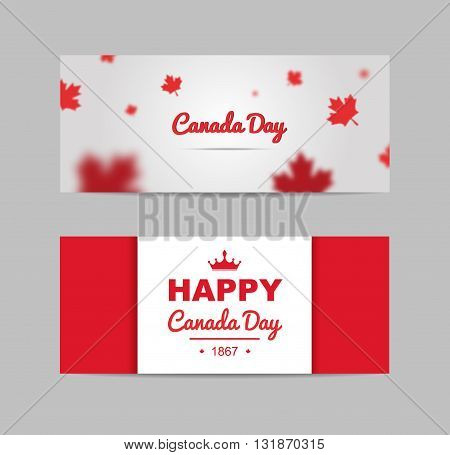 Set of design elements for Canada Day 1st of July. Vector modern stylish illustration. Vector banner for the Internet to the Canada Day with red leaves.