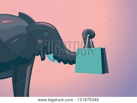 Elephant with a pack from shop. Cartoon illustration.