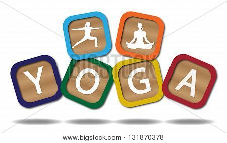 Kids blocks spelling yoga isolated on a white background