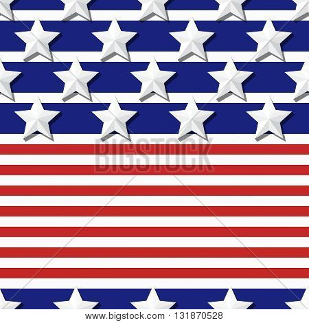 Vector Seamless Flag Pattern With 3D Stylized Stars On Blue And Red Stripes. Concept For 4Th Of July