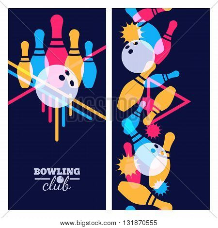Set Of Bowling Banner, Poster, Flyer Or Label Design Elements. Vertical Seamless Colorful Black Back