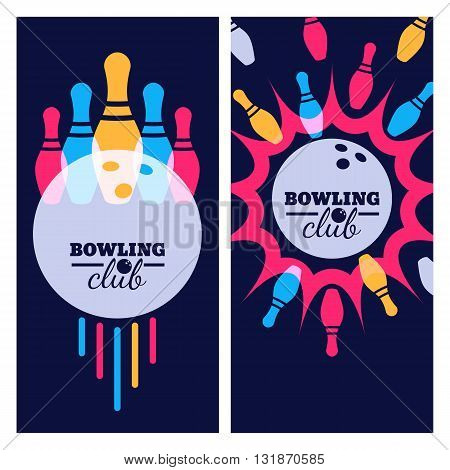 Bowling Backgrounds, Icons And Elements For Banner, Poster, Flyer, Label Design. Abstract Vector Ill