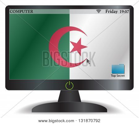 Algeria Computer Screen With On Button
