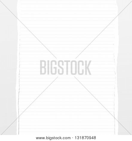 Lined notebook with white torn vertical paper pieces.