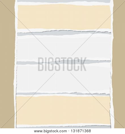 Pieces of torn white and brown blank paper are stuck on gray background.