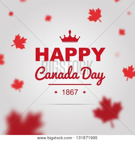 Happy Canada Day poster. 1st of July vector with 3D effect.
