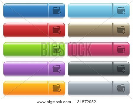 Set of folder download glossy color menu buttons with engraved icons