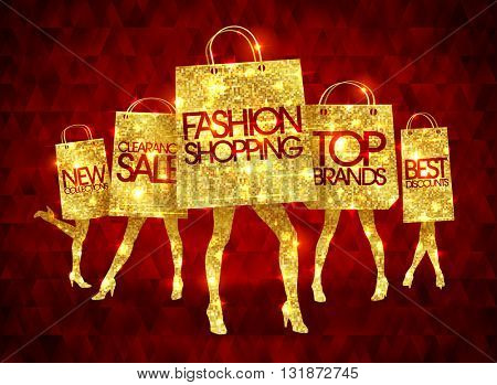 Golden shopping women silhouettes with paper shopping bags, funny fashion bags with slim legs and sample text