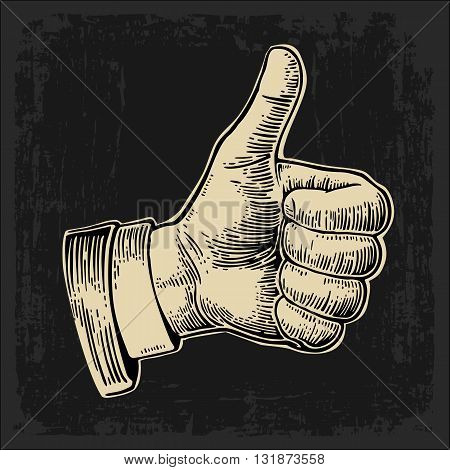 Hand showing symbol Like. Making thumb up gesture. Hand drawn design element. Vector beige vintage engraved illustration isolated on a dark background. Sign for web poster info graphic