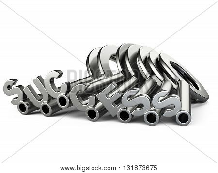 Keys to success. Conceptual 3d image isolated on a white background.