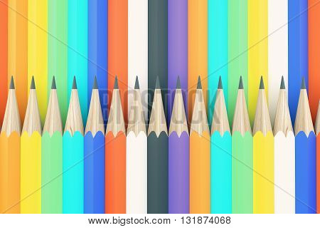 Colorful pencil pattern background. 3D Rendering. Close up.