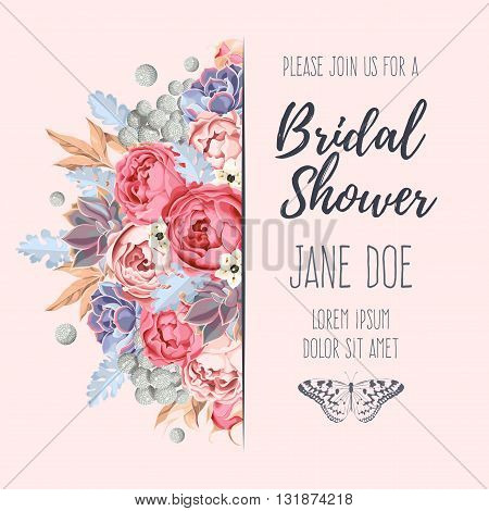 Vector bridal shower invitation decorated with flowers