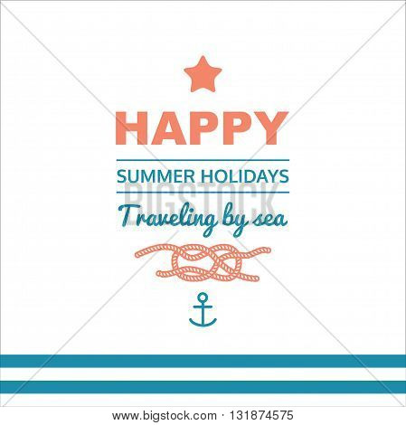 Vector illustration with text. Seaside view poster