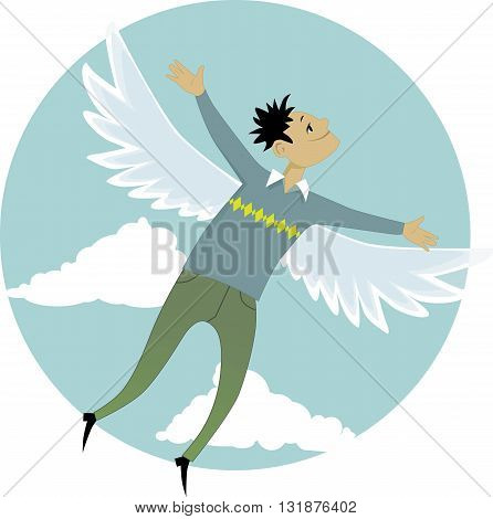 Young cartoon man with wings flying across the sky