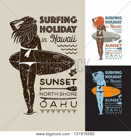 Girl with surfboard and the inscription: SURFING HOLIDAY IN HAWAII. Vector color and monochrome illustrations.