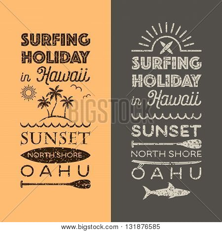 Surfing holiday in Hawaii vector emblems set.