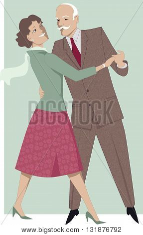 Senior couple dancing waltz, EPS8 vector illustration
