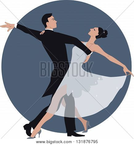 Vector illustration of a couple dancing waltz, no transparencies, ESP 8
